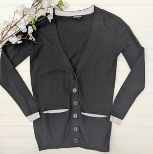Express Black/White Boyfriend Cotton Cardigan
